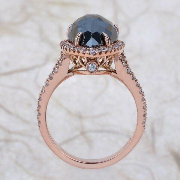 pear shape black diamond ring in 14K rose gold