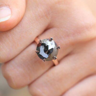 six prong 3 carat flower rose cut black diamond ring