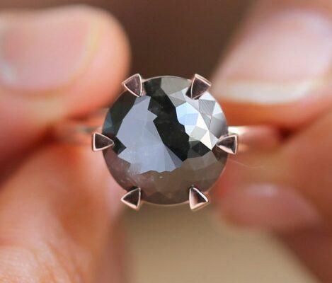 3 carat flower rose cut black diamond ring