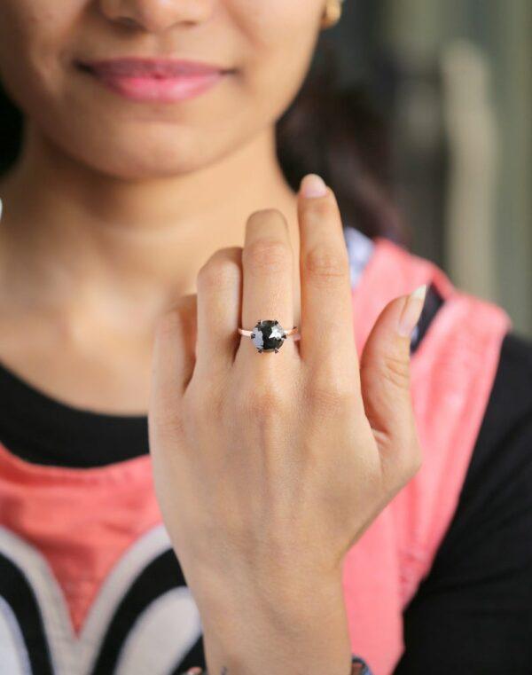 3 carat flower rose cut black diamond ring on finger