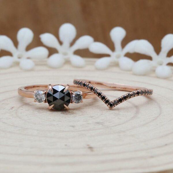 rose cut black diamond bridal ring with a chevron band