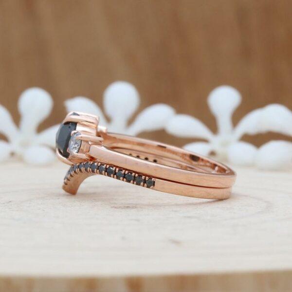 rose cut black diamond bridal ring
