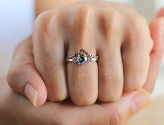 gorgeous rose cut black diamond bridal ring