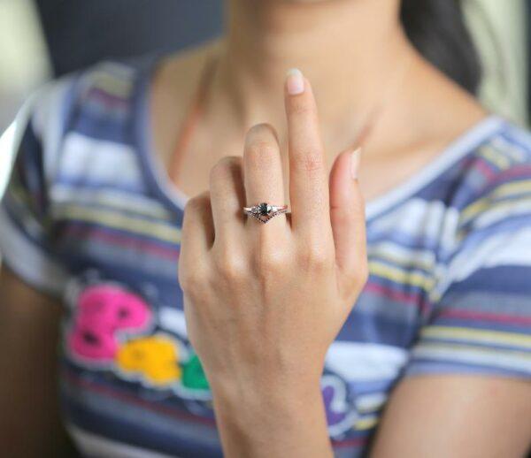 beautiful rose cut black diamond bridal ring