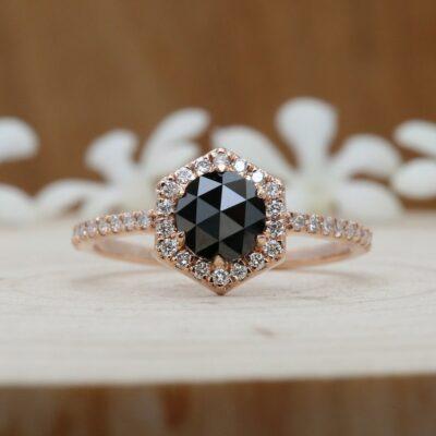 black diamond rose gold ring