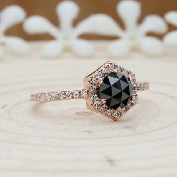 black diamond rose gold ring for slae