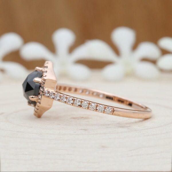 black diamond rose gold ring with rose cut diamond