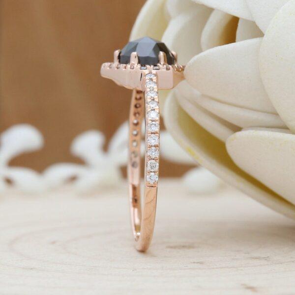 black diamond rose gold ring online