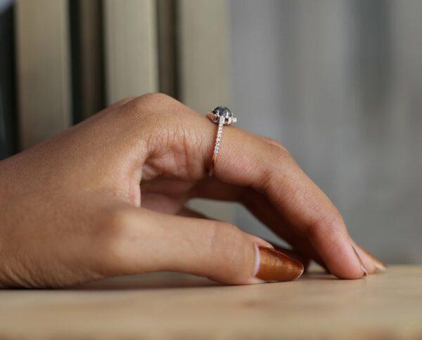 black diamond rose gold ring for her